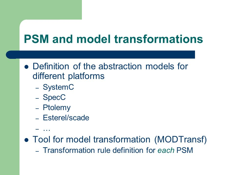 PSM and model transformations