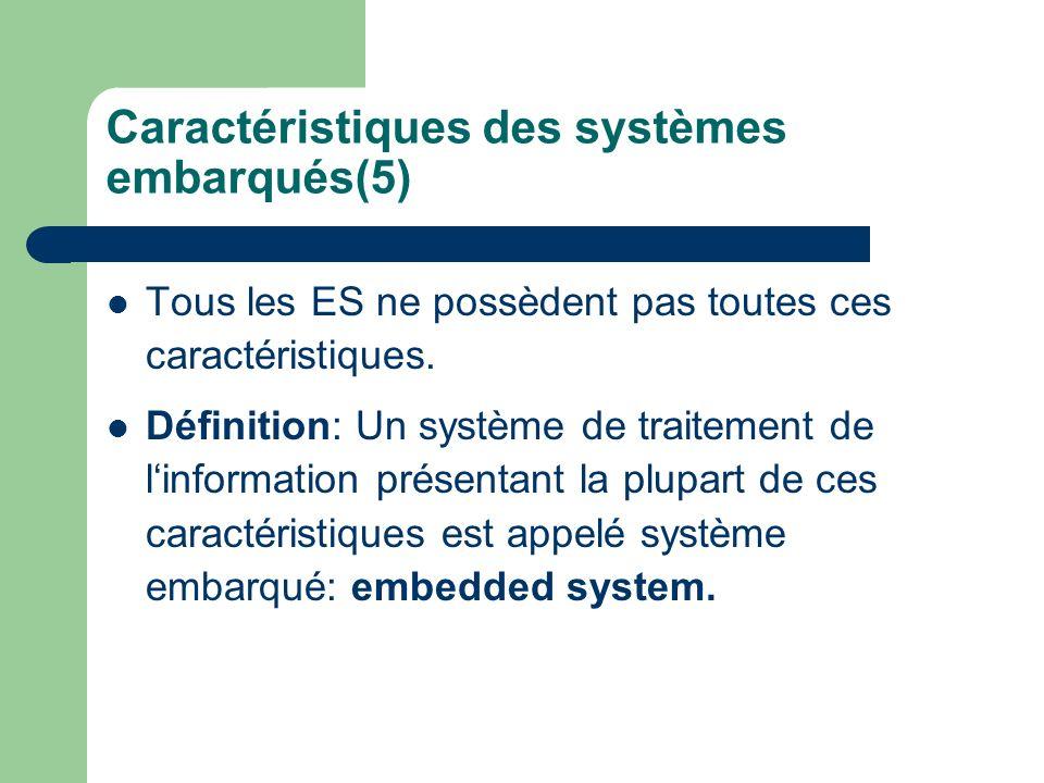 Caractéristiques des systèmes embarqués(5)