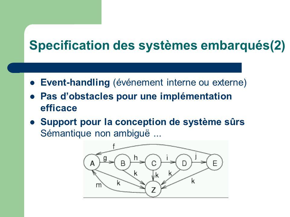 Specification des systèmes embarqués(2)