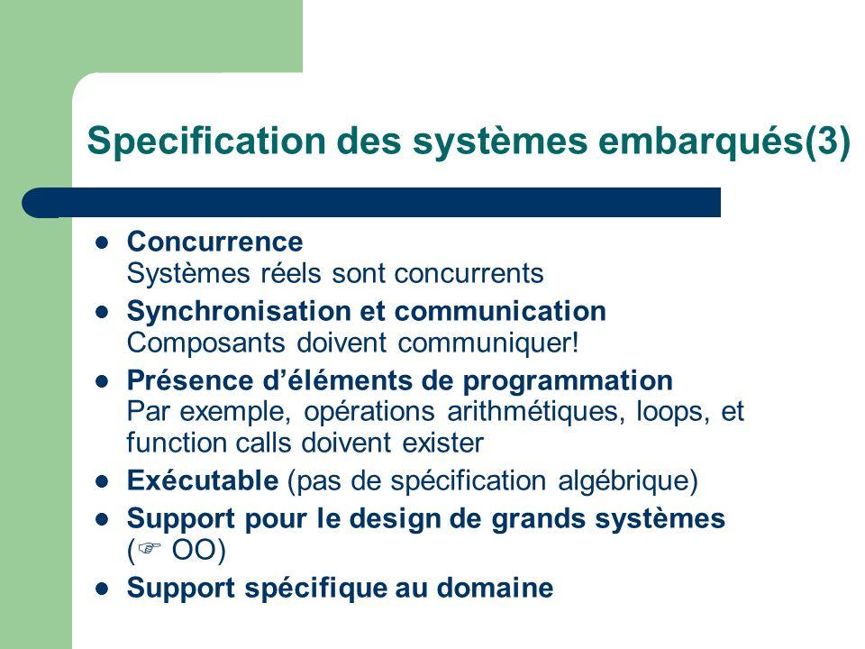 Specification des systèmes embarqués(3)