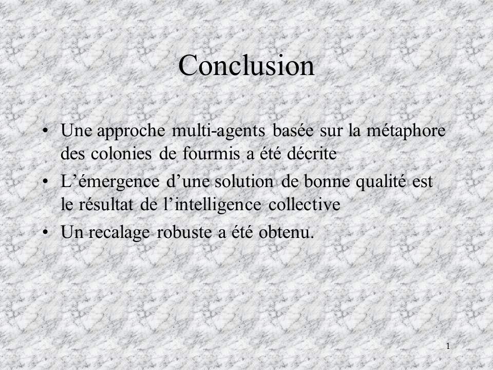 Conclusion Une approche multi-agents basée sur la métaphore des colonies de fourmis a été décrite.