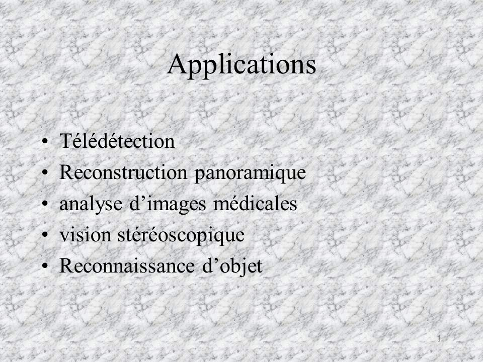 Applications Télédétection Reconstruction panoramique