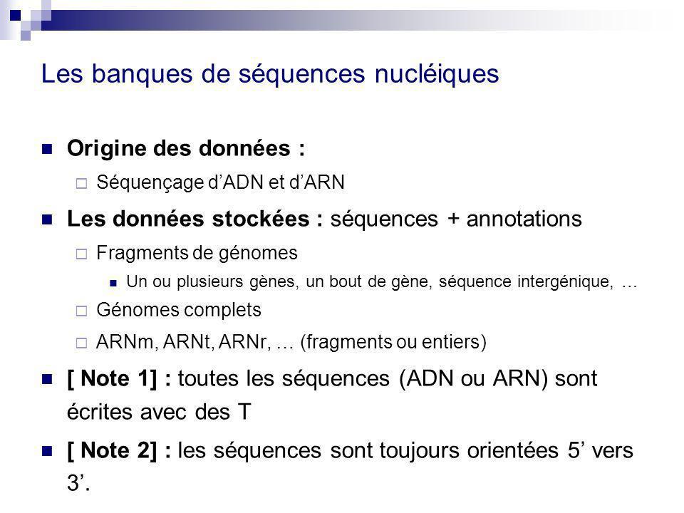 Les banques de séquences nucléiques
