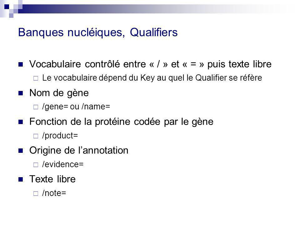 Banques nucléiques, Qualifiers