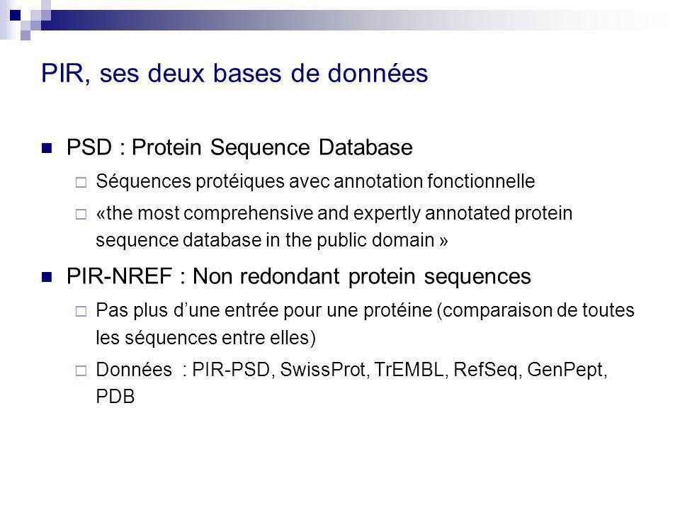 PIR, ses deux bases de données