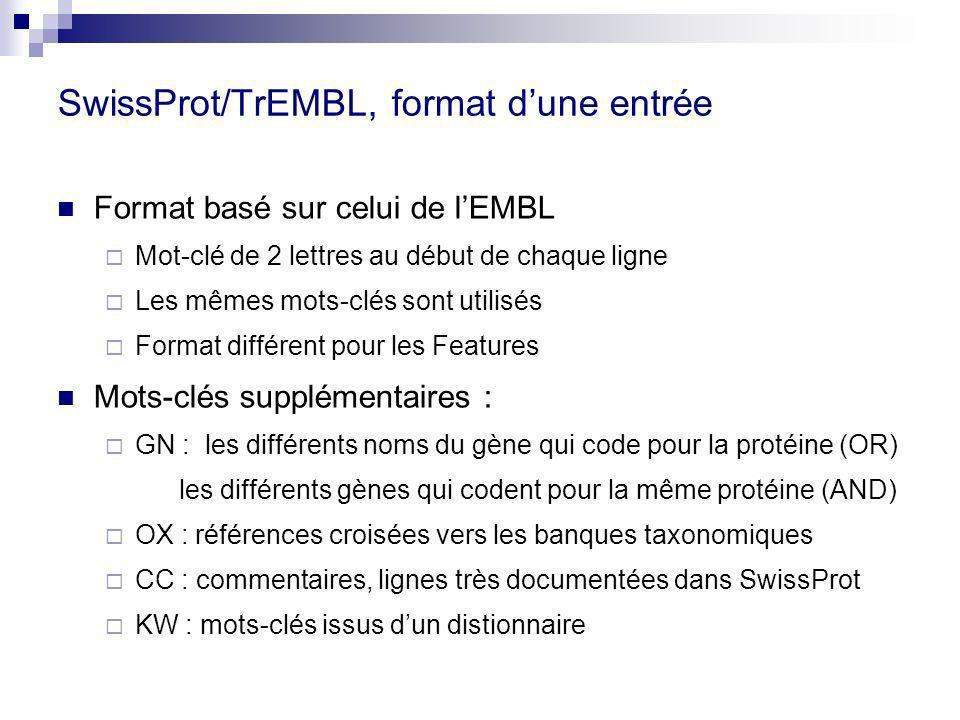 SwissProt/TrEMBL, format d'une entrée