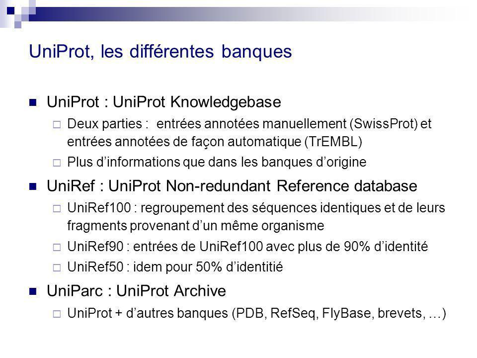 UniProt, les différentes banques