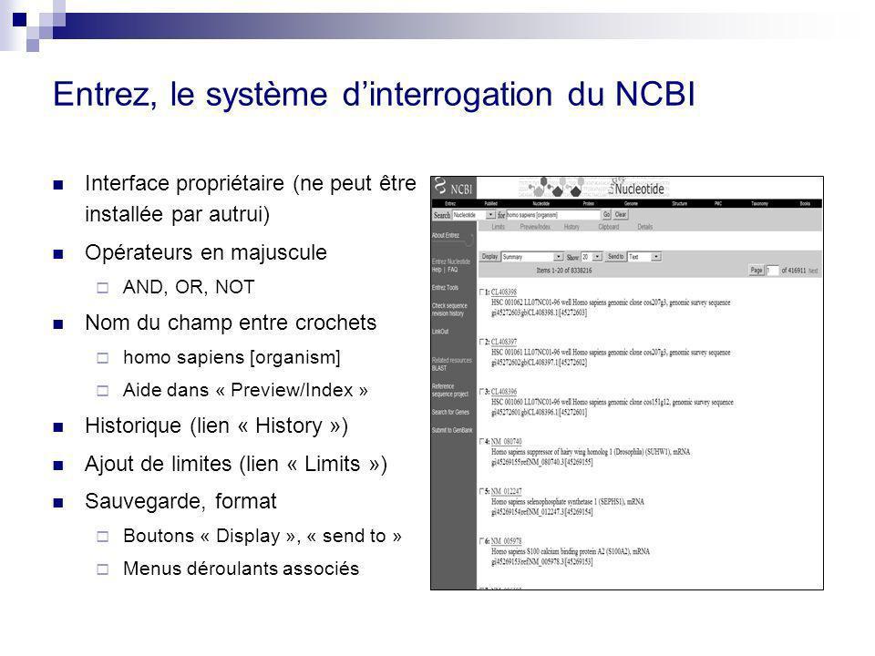 Entrez, le système d'interrogation du NCBI