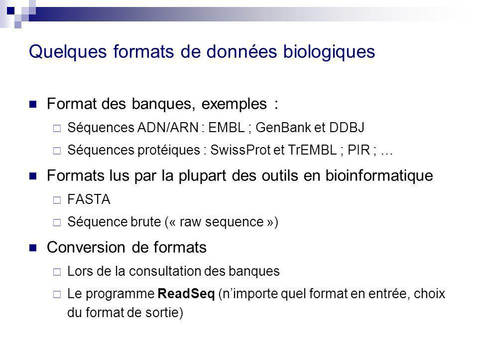 Quelques formats de données biologiques