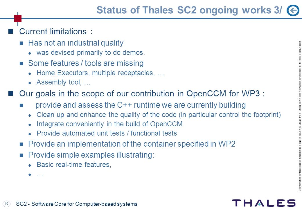 Status of Thales SC2 ongoing works 3/