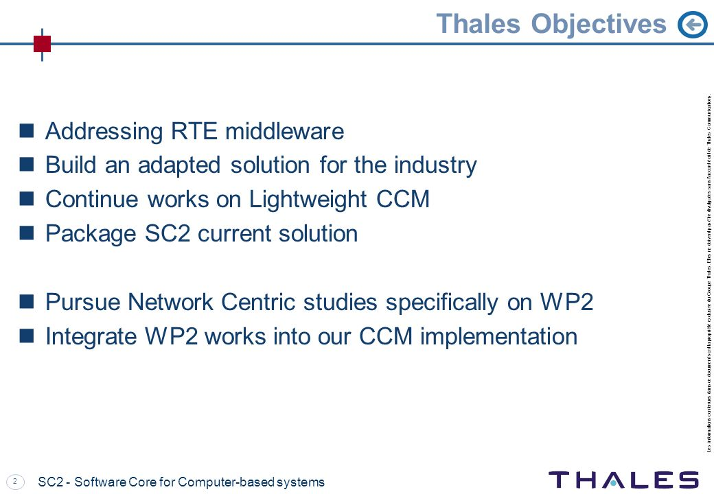 Thales Objectives Addressing RTE middleware