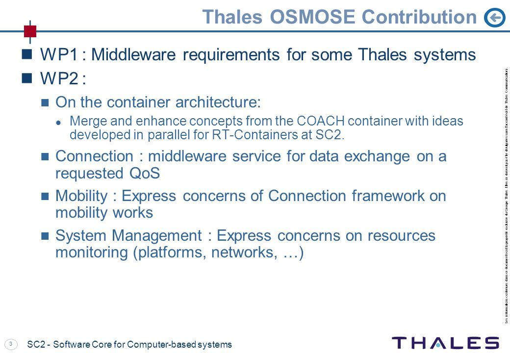 Thales OSMOSE Contribution
