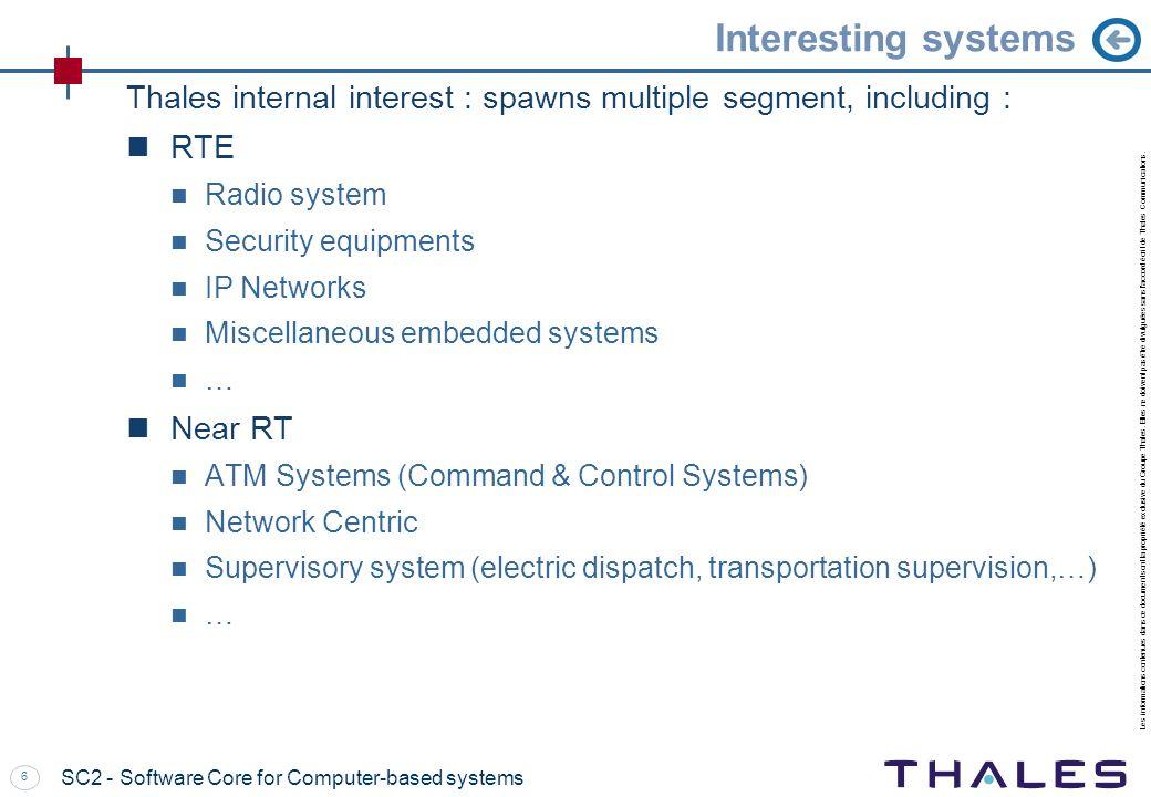 Interesting systems Thales internal interest : spawns multiple segment, including : RTE. Radio system.