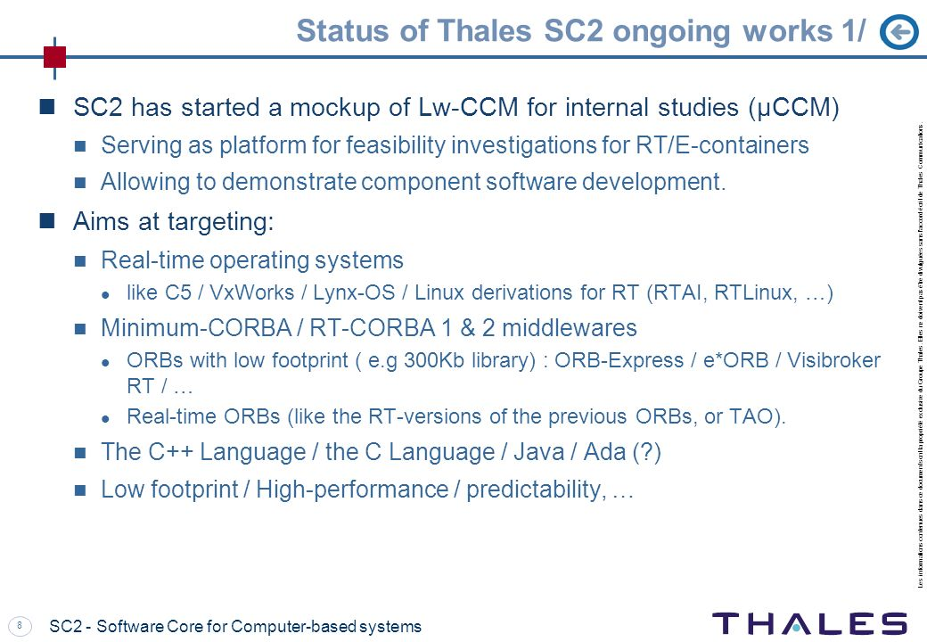 Status of Thales SC2 ongoing works 1/