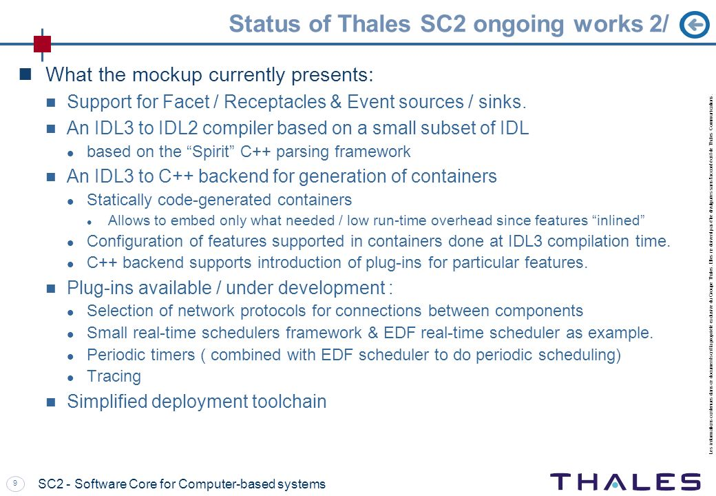 Status of Thales SC2 ongoing works 2/