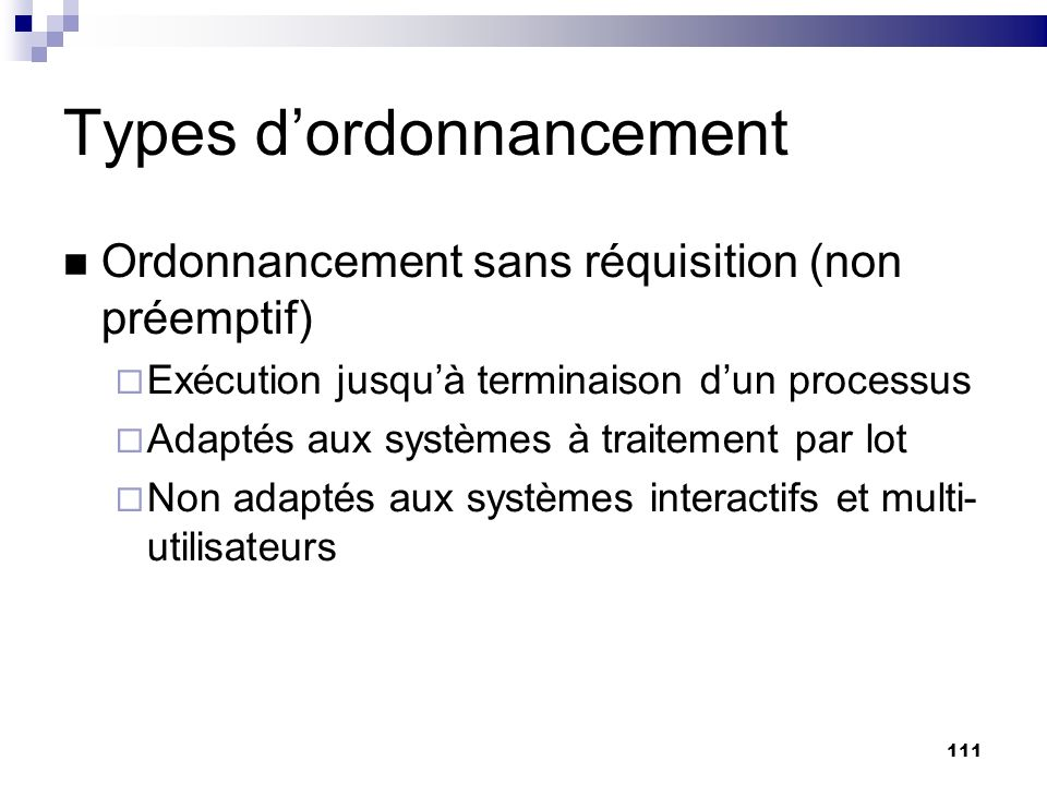 Types d'ordonnancement