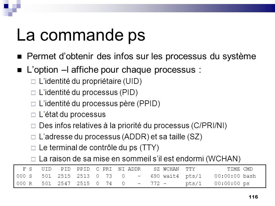 La commande ps Permet d'obtenir des infos sur les processus du système
