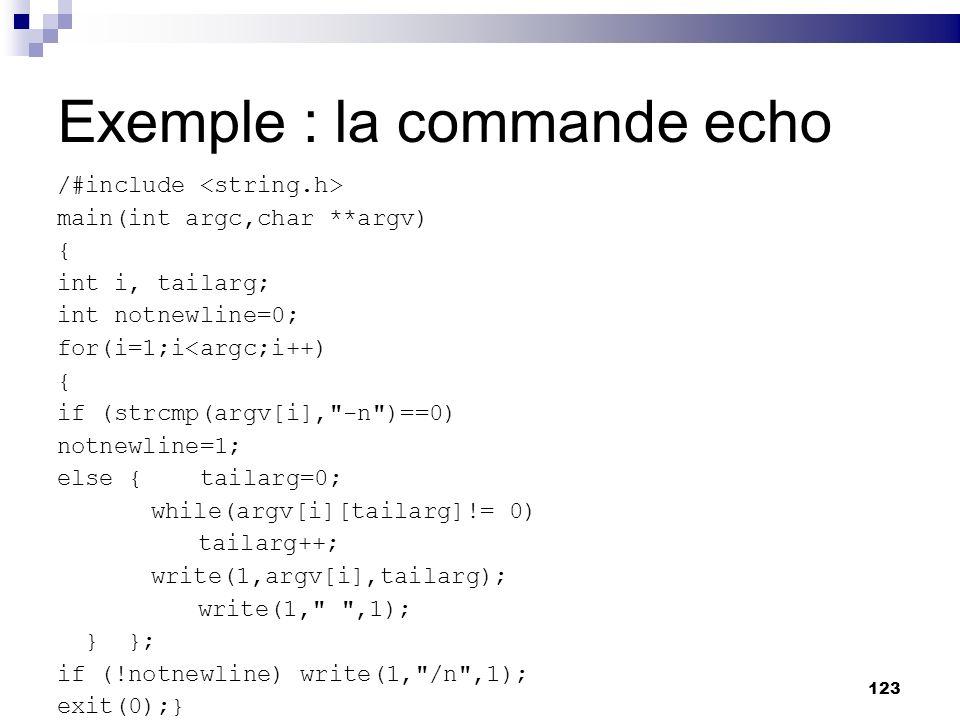 Exemple : la commande echo