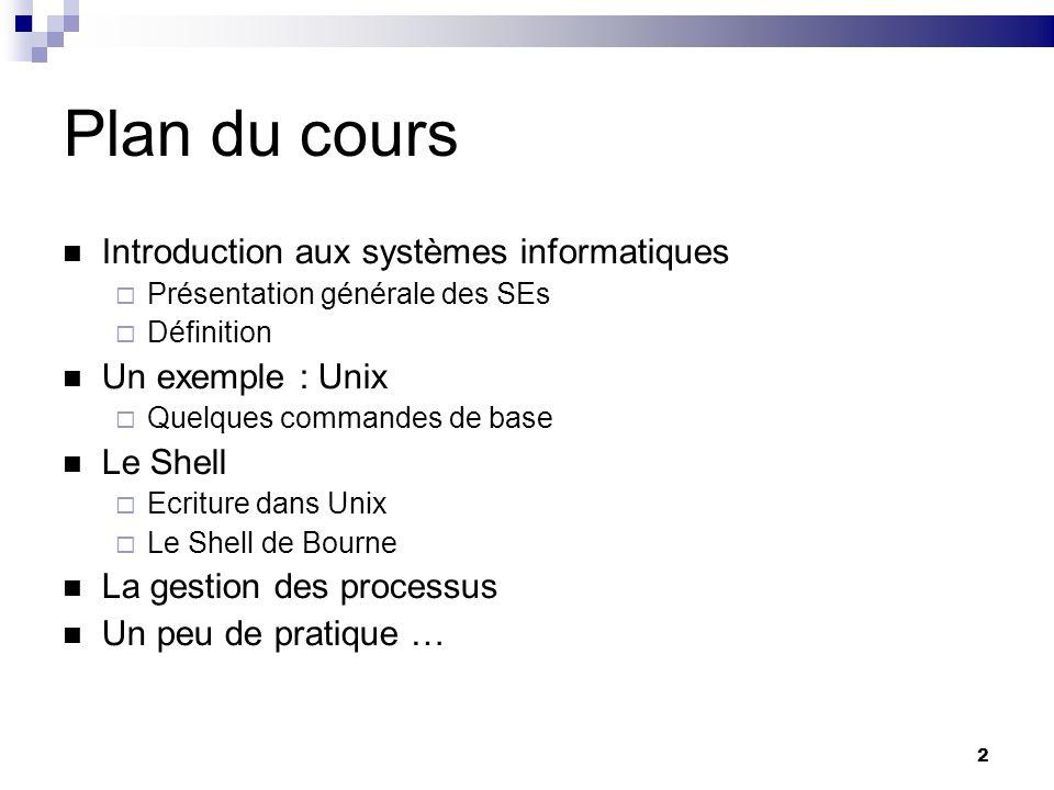 Plan du cours Introduction aux systèmes informatiques