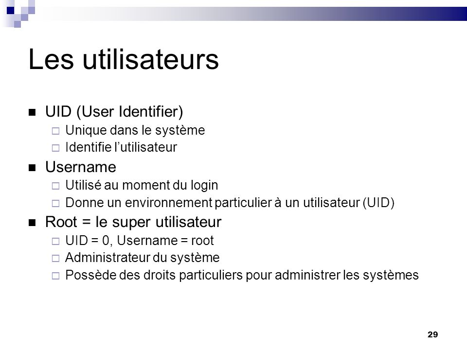 Les utilisateurs UID (User Identifier) Username