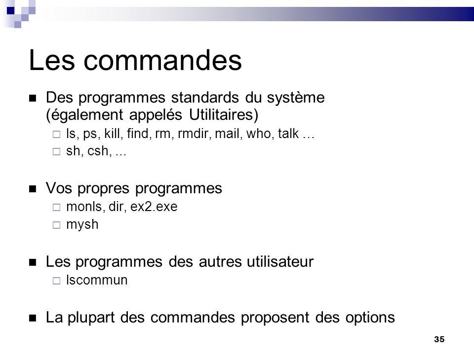 Les commandes Des programmes standards du système (également appelés Utilitaires) ls, ps, kill, find, rm, rmdir, mail, who, talk …