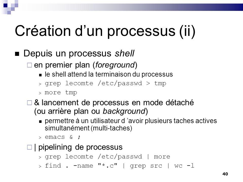 Création d'un processus (ii)