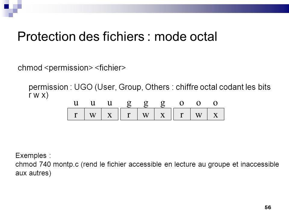 Protection des fichiers : mode octal