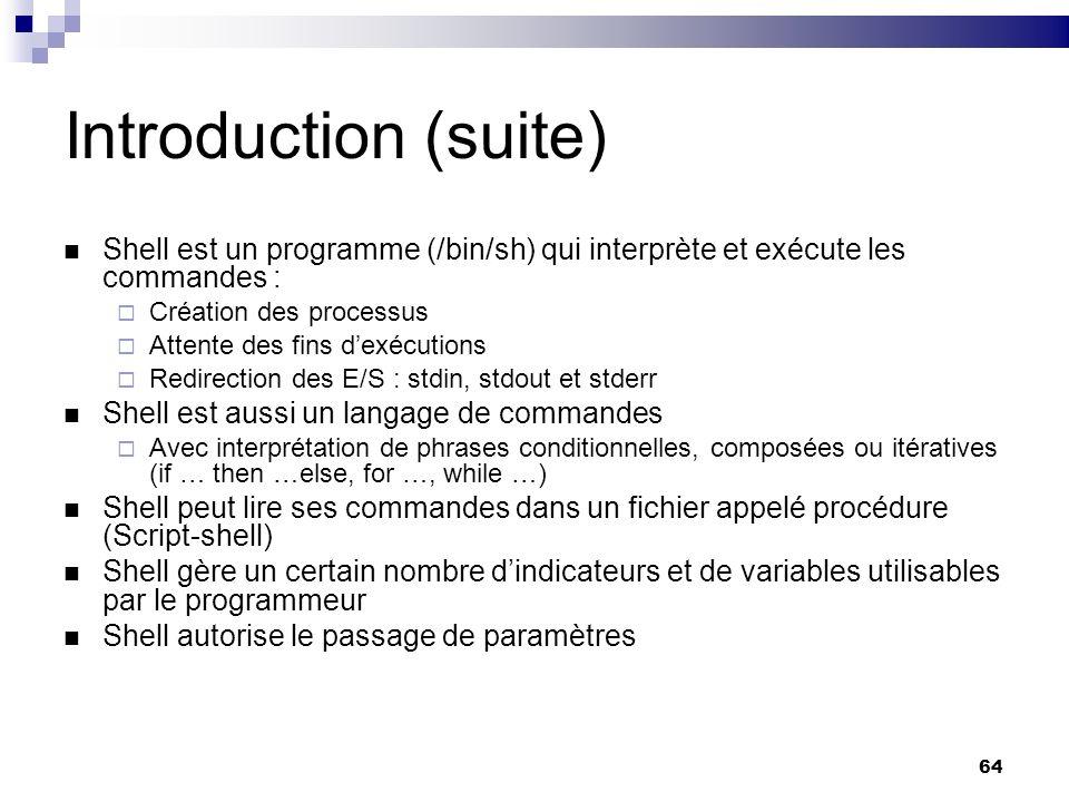 Introduction (suite) Shell est un programme (/bin/sh) qui interprète et exécute les commandes : Création des processus.