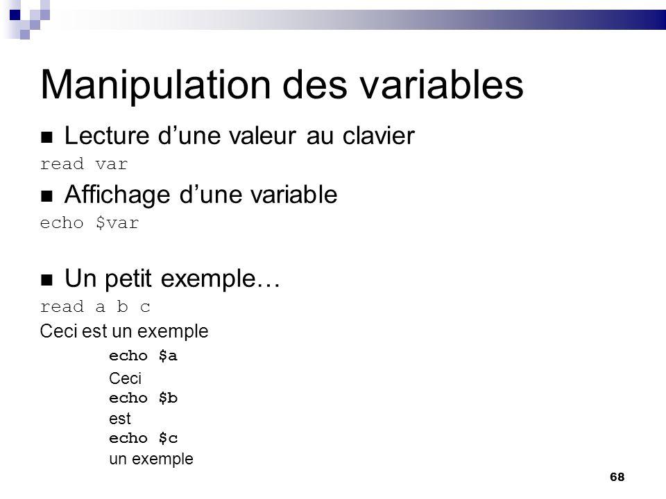 Manipulation des variables