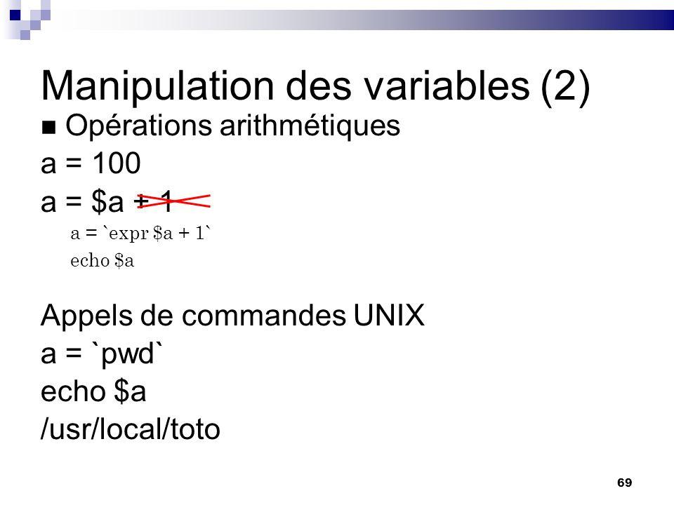 Manipulation des variables (2)