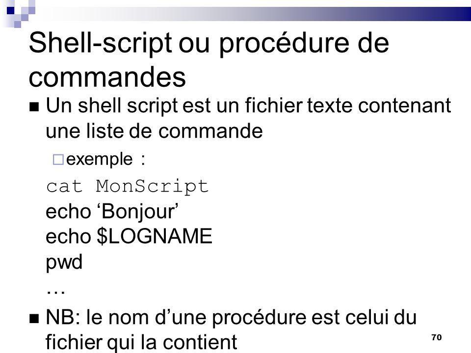 Shell-script ou procédure de commandes