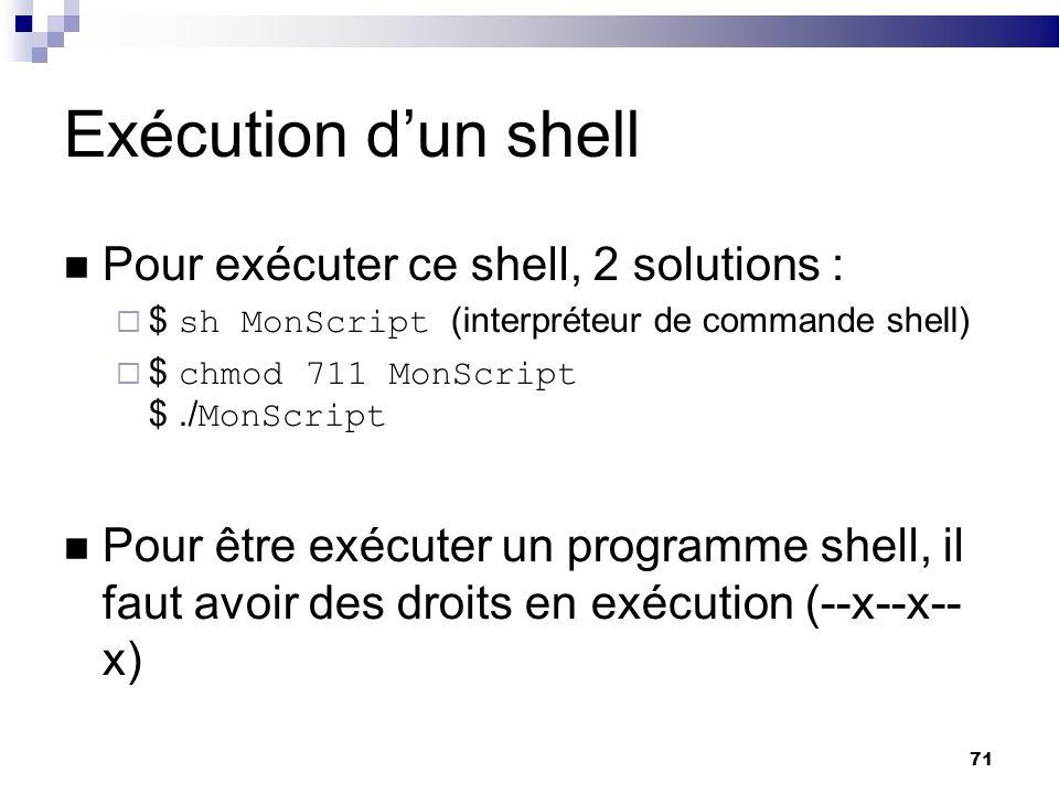 Exécution d'un shell Pour exécuter ce shell, 2 solutions :
