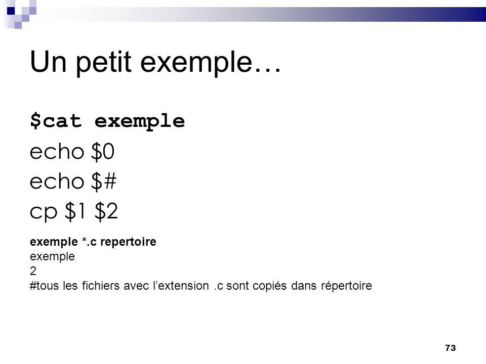 Un petit exemple… $cat exemple echo $0 echo $# cp $1 $2