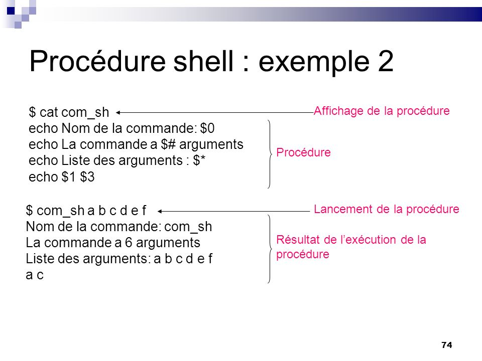 Procédure shell : exemple 2