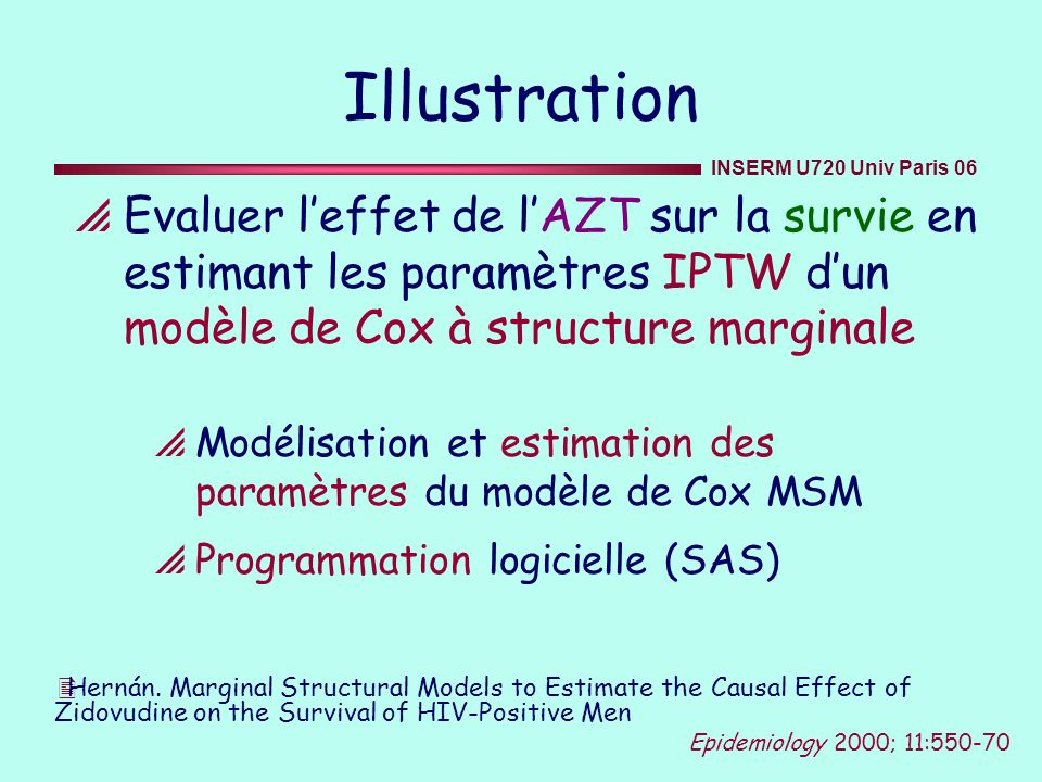 Illustration Evaluer l'effet de l'AZT sur la survie en estimant les paramètres IPTW d'un modèle de Cox à structure marginale.