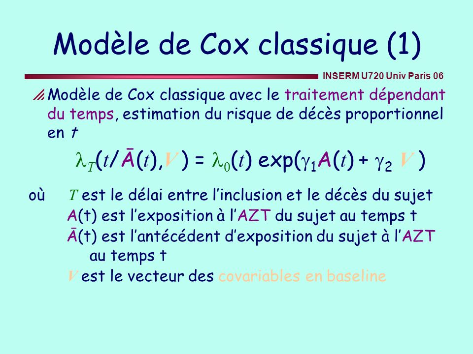 Modèle de Cox classique (1)