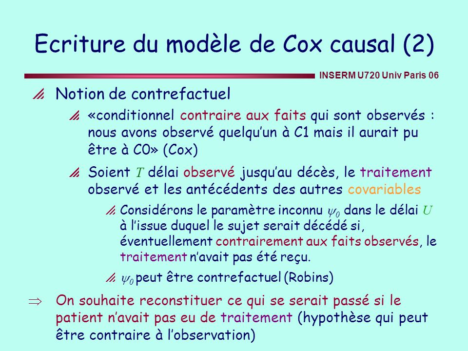 Ecriture du modèle de Cox causal (2)