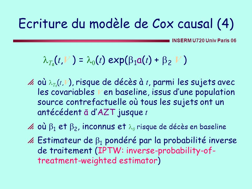 Ecriture du modèle de Cox causal (4)