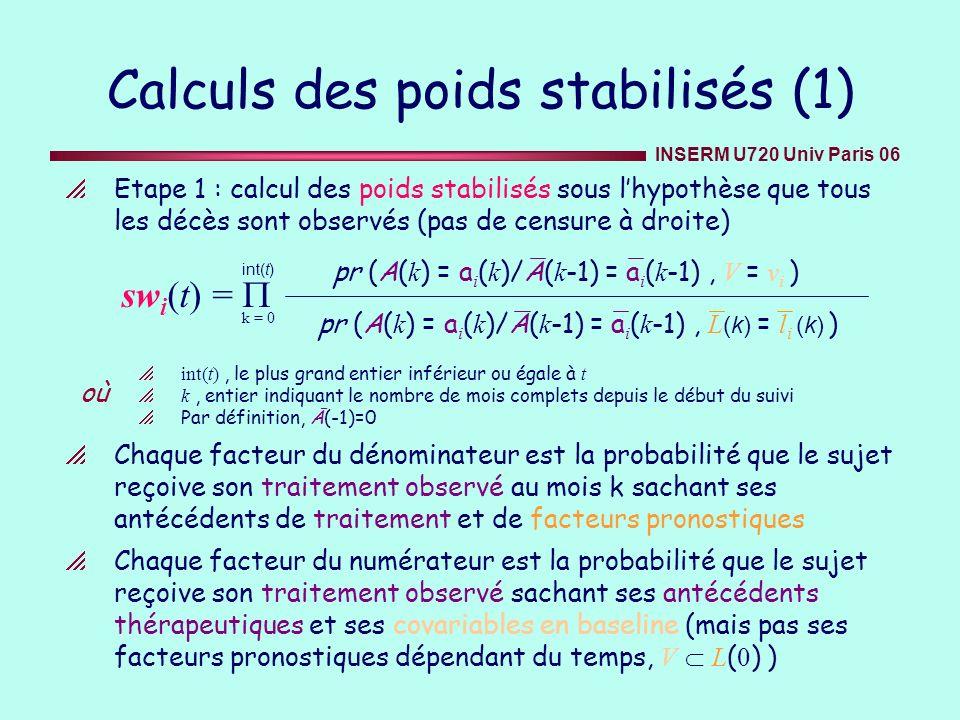 Calculs des poids stabilisés (1)