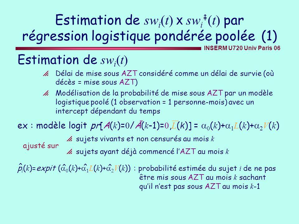 Estimation de swi(t) x swi(t) par régression logistique pondérée poolée (1)