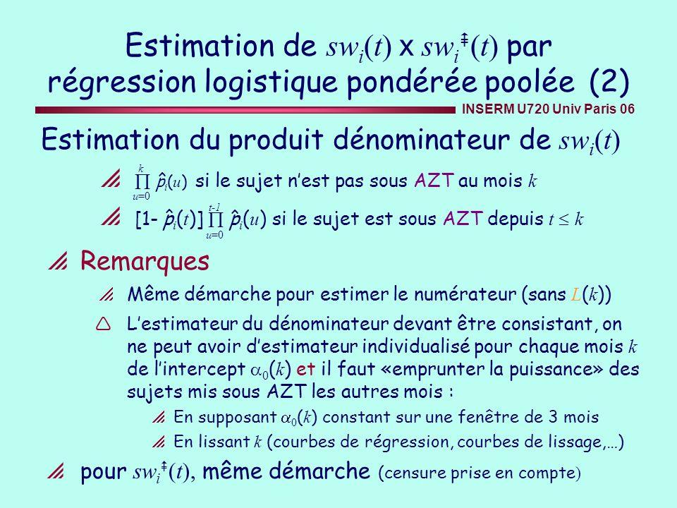 Estimation de swi(t) x swi(t) par régression logistique pondérée poolée (2)