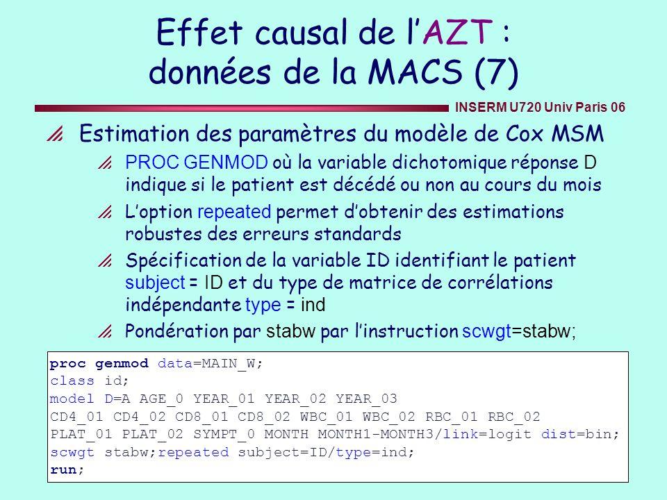 Effet causal de l'AZT : données de la MACS (7)