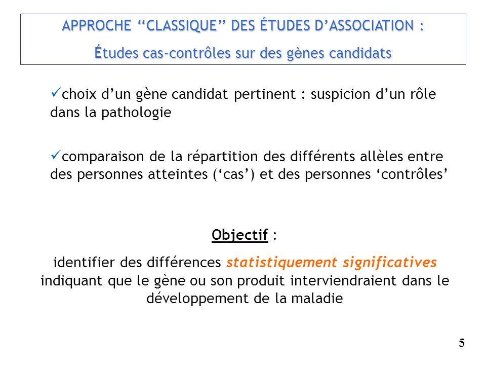 APPROCHE ''CLASSIQUE'' DES ÉTUDES D'ASSOCIATION :