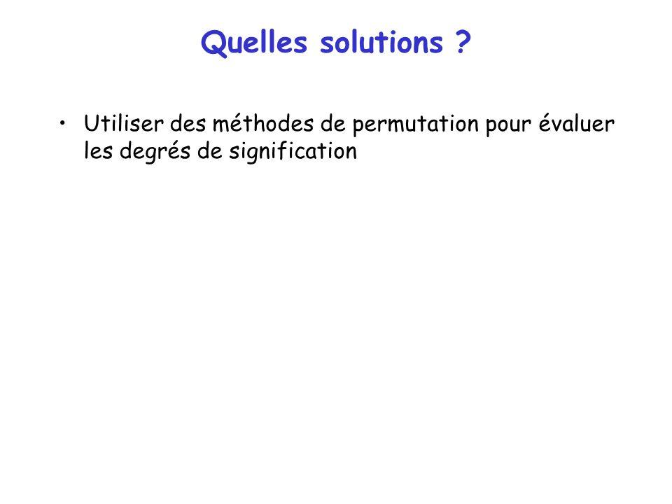Quelles solutions Utiliser des méthodes de permutation pour évaluer les degrés de signification