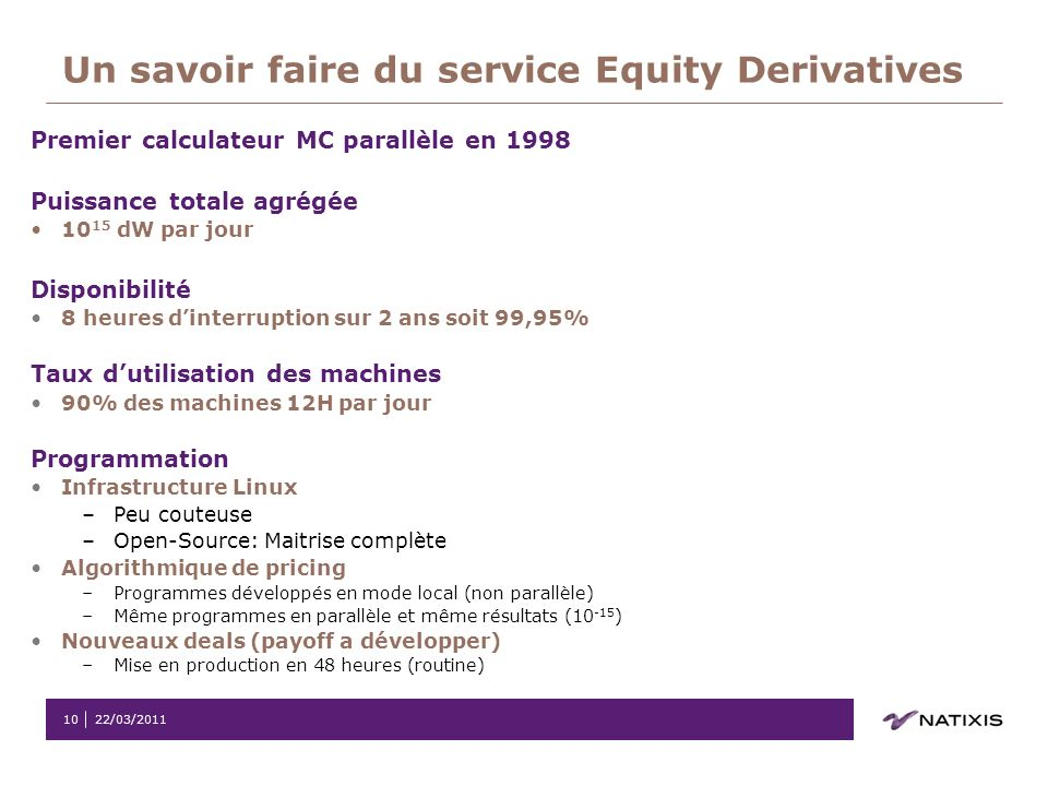Un savoir faire du service Equity Derivatives
