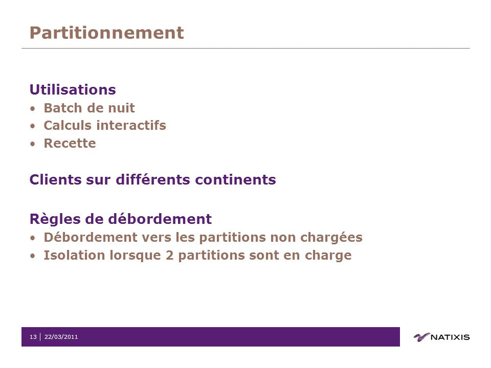 Partitionnement Utilisations Clients sur différents continents