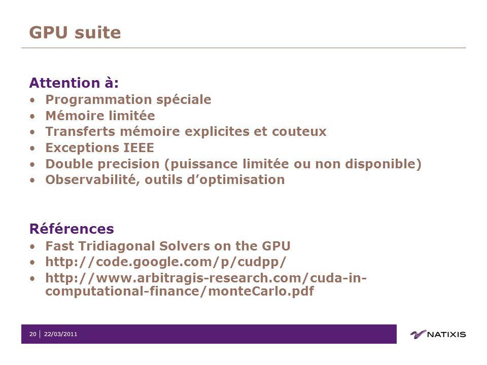 GPU suite Attention à: Références Programmation spéciale