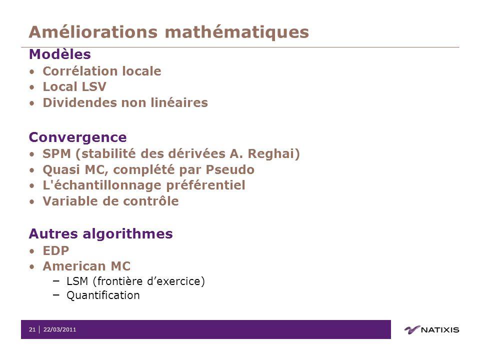 Améliorations mathématiques
