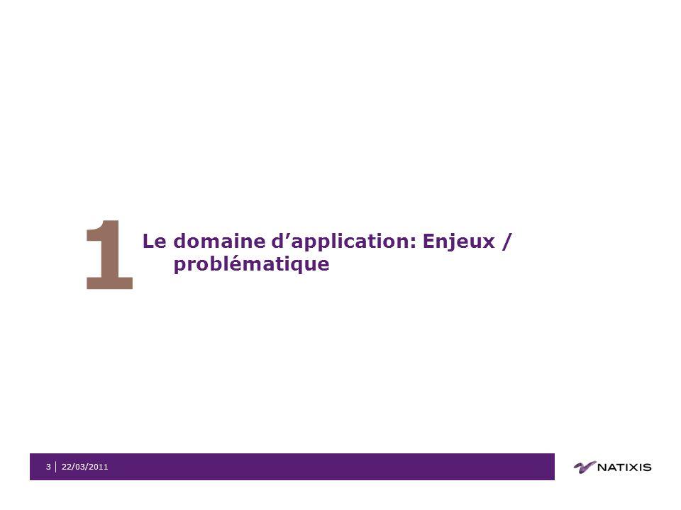 1 Le domaine d'application: Enjeux / problématique 22/03/2011