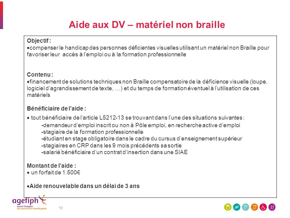 Aide aux DV – matériel non braille